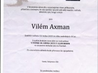 Zemřel Vilém Axman